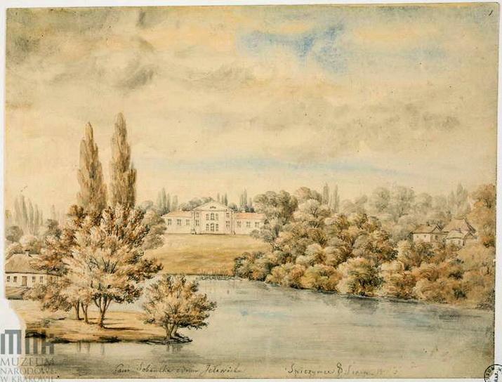 (Spińczyce. Pałac Sobańskich - widok od rzeki Roś)