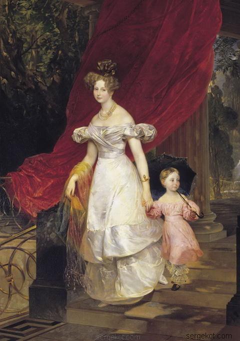 Карл Брюллов Портрет великой княгини Елены Павловны с дочерью Марией. 1830
