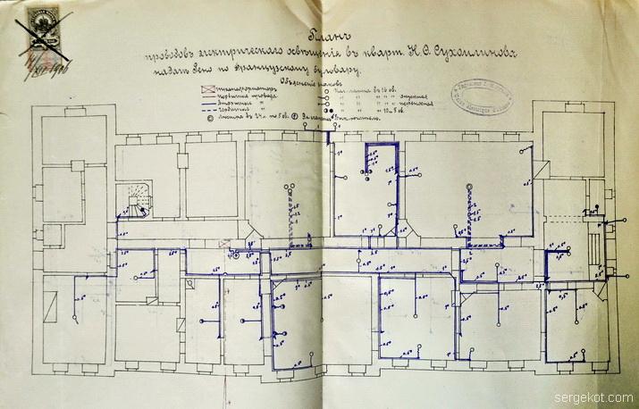Французский бульвар, 15, план квартиры Сухомлинова.