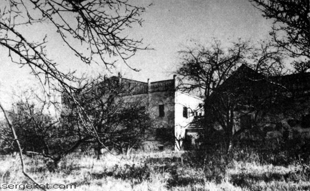 Новоселица, парковый фасад и здание служб. 1973.