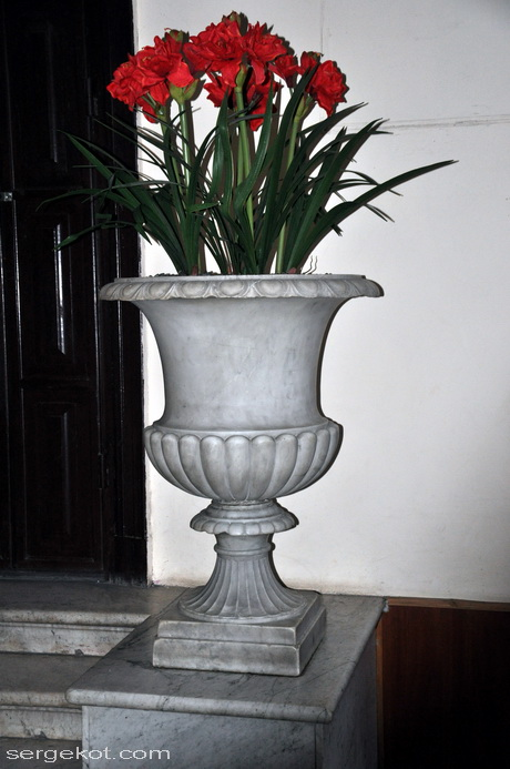 Одесса, ул. Пушкинская, 4. Дом Маразли. Мраморная ваза парадного входа.