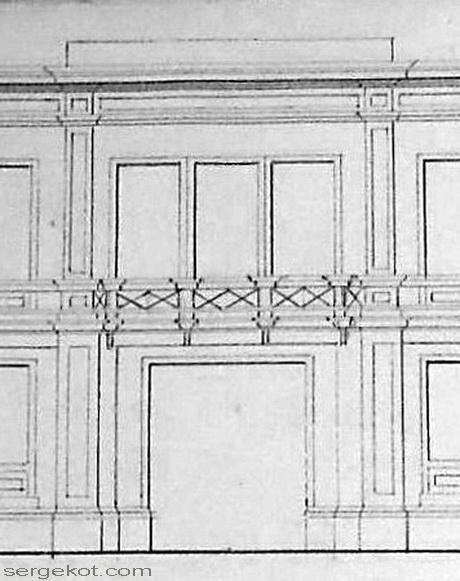 Центральная часть плана фасада дома