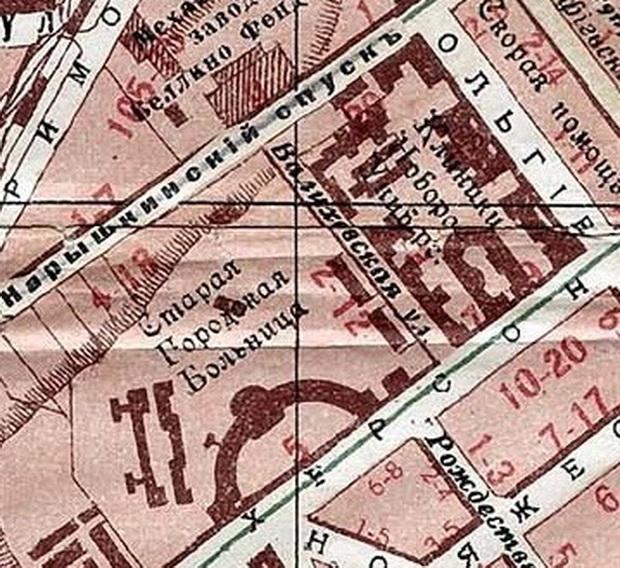 Фрагмент карты Одессы 1916 года.
