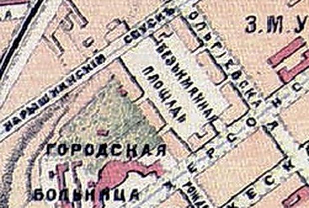 Фрагмент Карты Одессы 1888 года, издание Ильина, СПб.