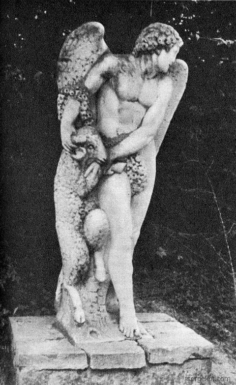 """Немиров. парковая скульптура """"Ангел с ягненком"""" 1982 год"""