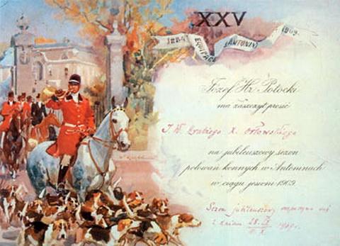 W. Kossak, Zaproszenie na polowanie jubileuszowe