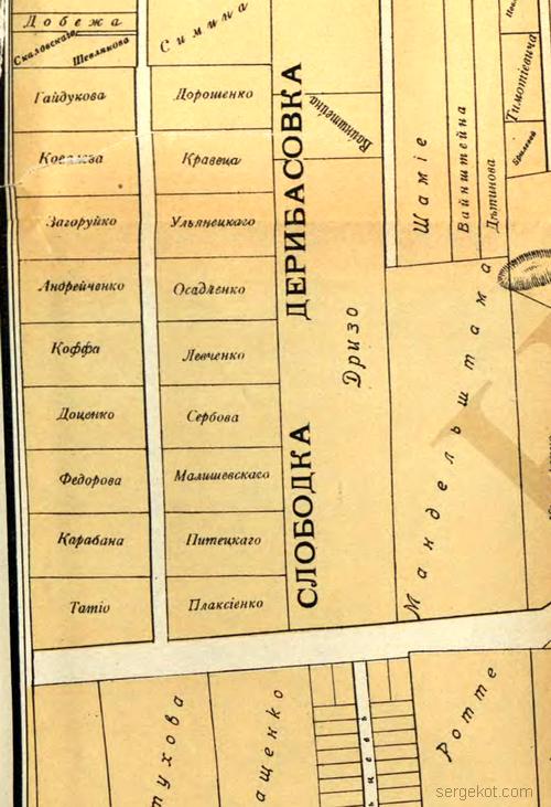 Фрагмент Карты 1912- Дерибасовка
