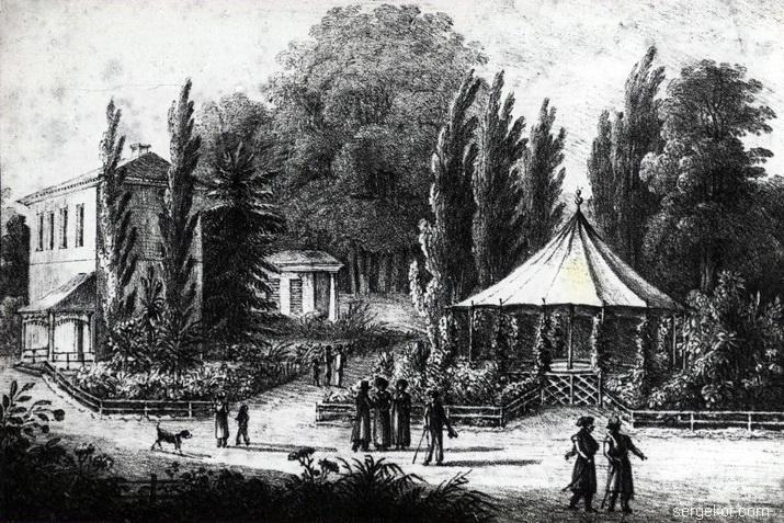 Александрия. Китайская беседка и один из павильонов. Рисунок Михалины Бержинской, 1822
