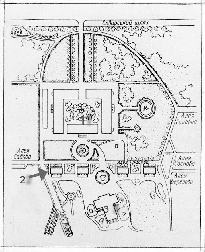 Александрия. План парка и павильонов.