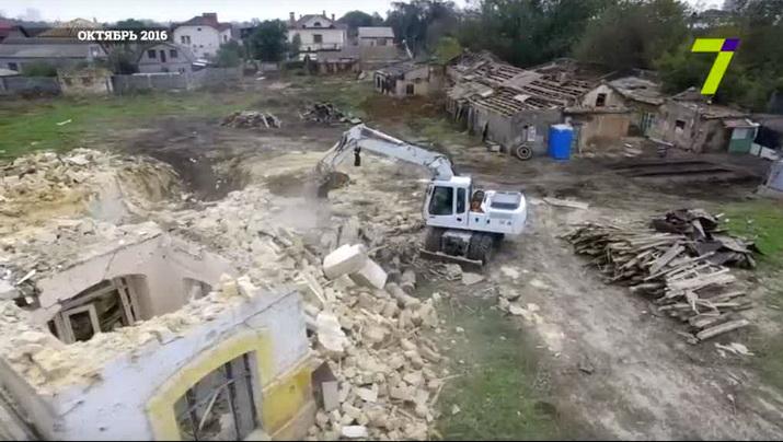 дача Тимио до и во время сноса (февраль 2015 г. и октябрь 2016 г.), снятая гидрокоптером (репортаж 7 канала